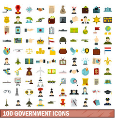 100 government icons set flat style vector