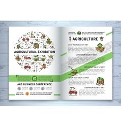 Agricultural Exhibition business brochure design vector image