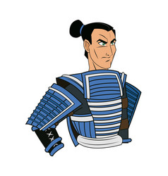 Animation warrior man samurai to ancient clothes vector