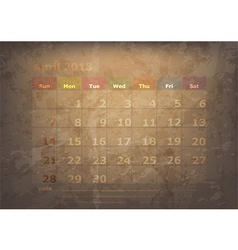 antique calendar of April vector image
