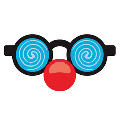 april fool clown glasses and red nose vector image