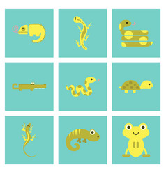 Assembly flat icons exotic wild reptiles vector