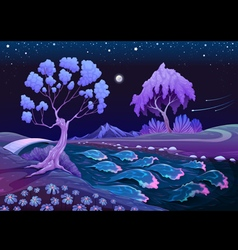 Astral landscape with trees and river in night vector