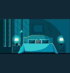 Bedroom interior at night with furniture vector