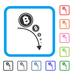 bitcoin deflation trend framed icon vector image