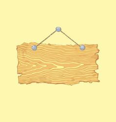 bright hanging blank isolated old wooden sign vector image