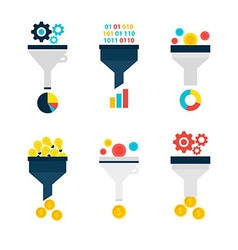 Business Sales Funnel Flat Objects Set isolated vector