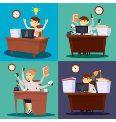 Businessman at Work Businesswoman in Office vector image