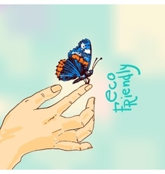Butterfly sketch eco friendly vector