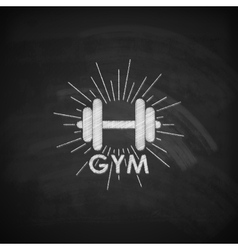 Chalk of a dumbbell with vector