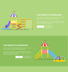 childrens playground set of posters with slides vector image