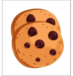 Chocolate chip cookie cartoon vector