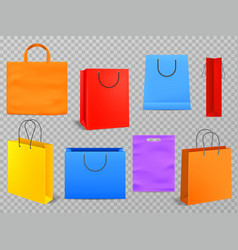 color shopping bags empty products handbag white vector image