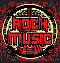 Color template invitation poster on rock music vector