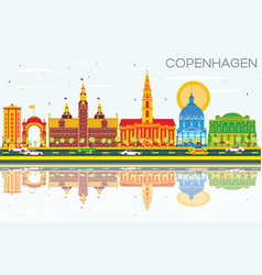 Copenhagen skyline with color landmarks blue sky vector