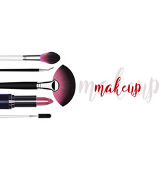 cosmetic makeup template with blush brushes vector image
