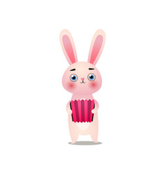cute pink easter bunny is playing at old accordion vector image