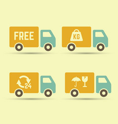 delivery trucks set of icons vector image