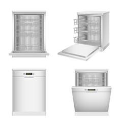 dishwasher machine icon set realistic style vector image