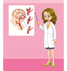 Doctor and brain tumor chart vector