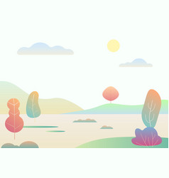 Fantasy simple cartoon autumn landscape modern vector