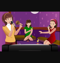 Female friends singing karaoke vector