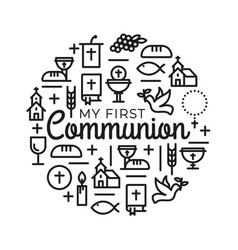 first communion symbols for a nice invitation vector image