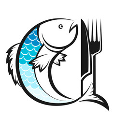 fish with knife and fork silhouette vector image