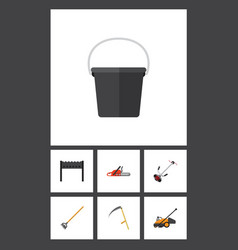 Flat icon farm set of pail grass-cutter cutter vector