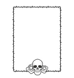 frame of thorns with two roses and a skull on its vector image