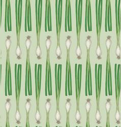 Fresh scallion green onion seamless pattern vector