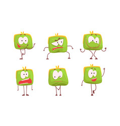 funny humanized purse collection green wallet vector image