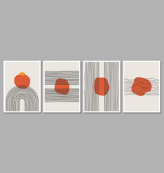 geometric minimalist abstract hand painted poster vector image