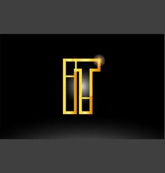 Gold black alphabet letter it i t logo vector