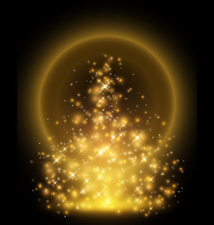 golden particles rising up to dark background vector image