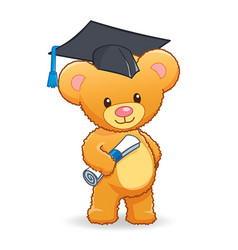 Graduating cute cuddly teddy bear vector