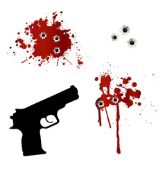 Gun with bullet holes and blood vector