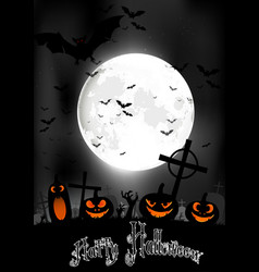 halloween night with pumpkins and bats vector image
