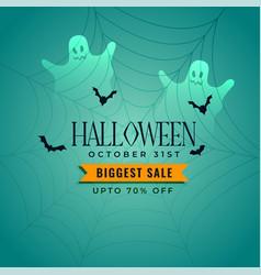 Halloween sale banner with ghosts and flying bats vector