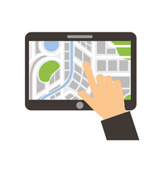 hand touching tablet pc with street map pointer vector image
