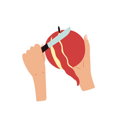 Hands holding and peeling an apple with a knife vector