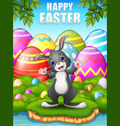happy rabbit cartoon in the woods near the river vector image