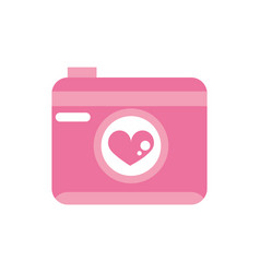 Happy valentines day photo camera heart romantic vector