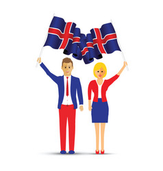 iceland flag waving man and woman vector image