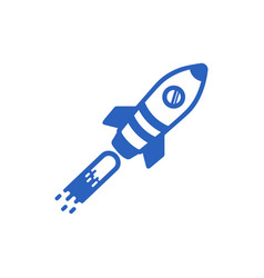 icon of a blue rocket on a white background vector image