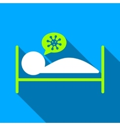 Infected patient bed flat long shadow square icon vector
