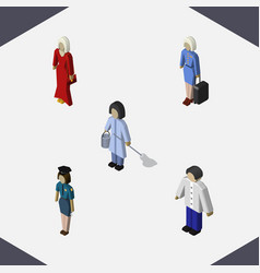 Isometric person set of male policewoman hostess vector