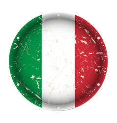 Italy - round metal scratched flag screw holes vector