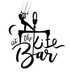 Kitesurfer girl lettering design at the bar vector