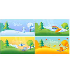 landscape four seasons - winter spring summer vector image